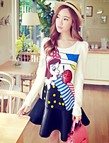 Pink Doll® Women's Print Round Neck Long Sleeve Above Knee Dress-X14CDR434