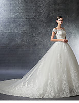 A-line Wedding Dress-Cathedral Train Off-the-shoulder