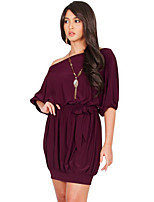 Women's Casual/Daily Simple Pleated Plus Size / Loose Dress,Solid Off Shoulder Above Knee ½ Length Sleeve