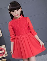 Girl's Casual/Daily Solid Dress,Cotton / Rayon Winter / Spring / Fall Pink / Red