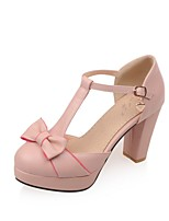 Women's Shoes PU Summer/ Round Toe Heels Office & Career / Casual Chunky Heel Buckle Blue / Pink / White / Beige