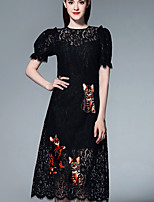 Boutique S Going out Sophisticated A Line Dress,Embroidered Round Neck Knee-length Short Sleeve Black Polyester Summer