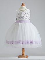 Linea-A Al ginocchio Abito da damigella d'onore bambina - Cotone / Raso / Tulle Senza maniche Con decorazione gioiello con