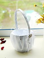 hvit sateng med rhinestone dobbelt hjerte dekorasjon blomst kurv for bryllupsfesten (12 * 12 * 24cm)