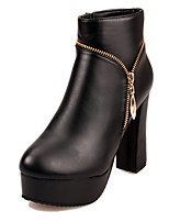 Women's Shoes Leatherette Spring / Fall / Winter Round Toe Boots Outdoor / Athletic / Casual Chunky Heel Zipper Black