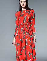 Boutique S Women's Casual/Daily Cute A Line Dress,Print Round Neck Midi ¾ Sleeve Red Cotton Summer