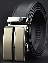 Men Simple Business Automatic Buckle Leather Wide Belt,Work / Casual Black