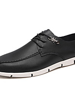 Men's Flats Spring / Summer Comfort Leatherette Casual Flat Heel Lace-up Black / Brown / White Walking