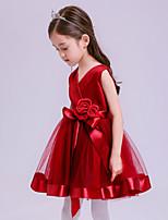A-라인 숏 / 미니 플라워 걸 드레스 - 튤 민소매 V-넥 와