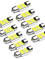Jiawen 10pcs / lot festón 31mm 1.2W 6 x 5730 SMD blanco llevó luces de señal del coche (12V CC)
