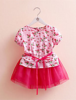 The New Children'S Clothing Baby Child Girl Strawberry Yarn Short-Sleeved Dress Child