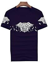 Camiseta De los hombres Estampado-Casual / Trabajo / Deporte-Algodón / Espándex-Manga Corta-Negro / Azul / Blanco / Gris