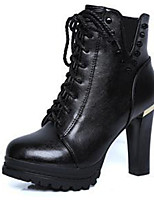 Women's Boots Fall / Winter Fashion Boots PU Casual Chunky Heel Lace-up Black / Brown Others