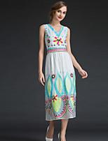 Viva Vena® Women's V Neck Sleeveless Tea-length Dress-VA88148