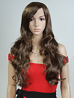 Capless Brown Color Long High Quality Natural Curly Hair Synthetic Wig