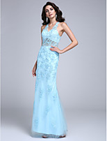 Formal Evening Dress Sheath / Column V-neck Floor-length Lace / Tulle with Appliques / Beading