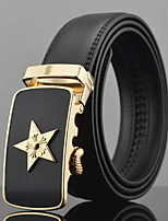 Men Star Icon Business Automatic Buckle Leather Wide Belt,Work / Casual