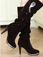 Boots Fall / Winter Fashion Boots PU Outdoor / Casual Stiletto Heel Chain Black / Brown
