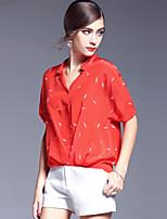 AFOLD® Women's Shirt Collar Short Sleeve Shirt & Blouse Red-5599