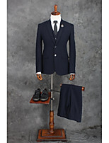 Suits Standard Fit Notch Single Breasted Two-buttons Polyester Stripes 3 Pieces Dark Blue Straight Flapped