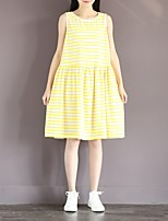 Maternity Casual/Daily Simple A Line Dress,Striped Round Neck Knee-length Sleeveless Yellow Cotton Summer