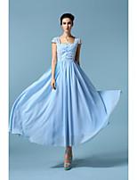 Women's Casual/Daily Street chic Sheath / Chiffon Dress,Geometric Strapless Maxi Short Sleeve Blue Polyester All Seasons