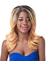 European Vogue Medium  Sythetic Black Mix Blonde Wave Party Wig For Women