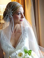 Wedding Veil One-tier Headpieces with Veil Cut Edge Tulle White