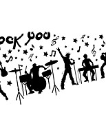 ROCK You Music Bar Plane Wall Stickers Removable DIY Black Singer Wall Decals
