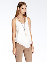Women's Going out Simple Summer Tank Top,Solid V Neck Sleeveless White Polyester Thin