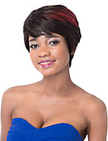 European Fashion Short Sythetic Black Wine Red Mixed Party Wig For Women