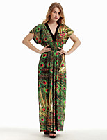 Women's Holiday / Plus Size Boho Swing Dress,Print Deep V Maxi Sleeveless Green Cotton / Polyester Summer