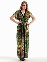 De las mujeres Corte Swing Vestido Vacaciones / Tallas Grandes Boho,Estampado Escote en V Profunda Maxi Sin Mangas VerdeAlgodón /