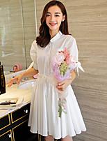Wake Up® Women's Shirt Collar Short Sleeve Above Knee Dress-L16269