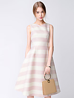 TAMMY TANGS  Women's Street chic Striped A Dress,V Neck Midi Polyester
