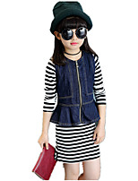 Girl's Round Collat Wild Striped Denim Vest Clothing Set (Stripe Cotton Dress & Denim Ruffle Side Vest)