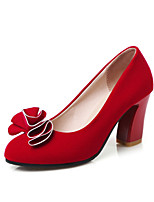 Women's Shoes Velvet Chunky Heel Heels / Basic Pump / Round Toe Heels Wedding / Office & Career / Red