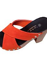 Damen-Sandalen-Lässig-PU-Blockabsatz-Sandalen-Gelb / Grün / Lila / Rot / Beige / Orange