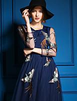 Ewheat® Women's Round Neck Long Sleeve Maxi Dress-H0488