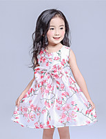 Girl's Casual/Daily Floral Dress,Cotton / Polyester All Seasons White
