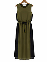 Women's Vintage / Simple Color Block Plus Size / Chiffon Dress,Round Neck Midi Polyester