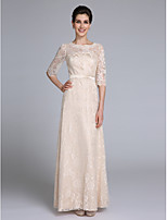 Lanting Bride Sheath / Column Mother of the Bride Dress Floor-length Half Sleeve Lace with Sash / Ribbon