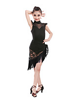 Children's Performance Lace Lace 1 Piece Latin Dance Sleeveless Natural Skirt Latin Dance Tutus & Skirts