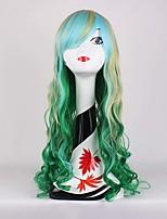 affascinante gradiente di luce verde mista onda bionda bella anime cosplay pieni parrucche sintetiche