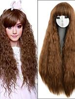 36inch средние коричневые длинные вьющиеся кудрявый жаропрочные женщин синтетический парик мило лолита натуральных волос свободная