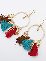 Womens European Style Fashion Bohemian Circle Vintage Ethnic Beaded Tassel Drop Earrings