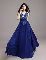Formal Evening Dress A-line Jewel Floor-length Chiffon with Appliques