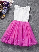 Girl's Pink / Purple / Red / White Dress,Solid Cotton / Rayon Summer
