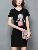 Women's Cartoon Print White / Black Slim Long Section T-shirt,Plus Size/Cute/Casual Short Sleeve Two Ways Wear Cotton