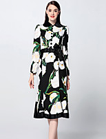 Boutique S Women's Going out Sophisticated Trumpet/Mermaid Dress,Floral Shirt Collar Midi Long Sleeve Black Cotton